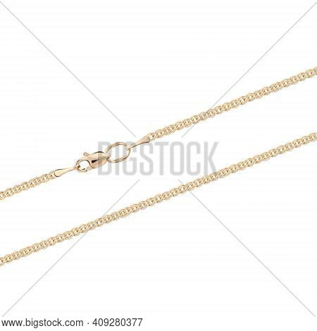 Silver Gold Pendant Fragment Necklace Link Chain On White Backround Isolated