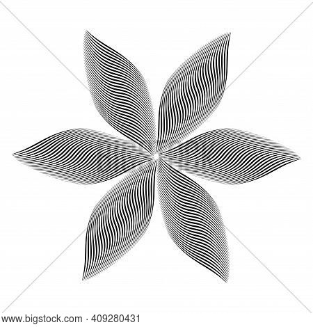 Abstract Wavy Lines Op Art Pattern In Flower Shape Design Element With 3d Illusion Effect. Vector Il