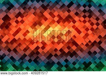 Abstract Geometric Pattern Or Background Made Of Chaotic Square Surface Polygons. 3d Rendering Of Re