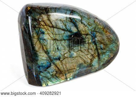 Macro Labradorite Mineral Stone On White Background