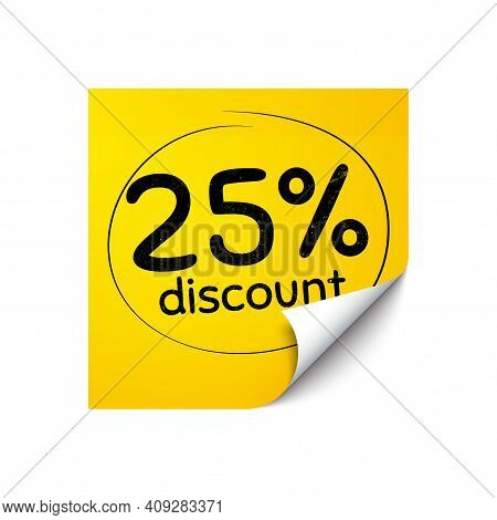 25 Percent Discount. Sticker Note With Offer Message. Sale Offer Price Sign. Special Offer Symbol. Y