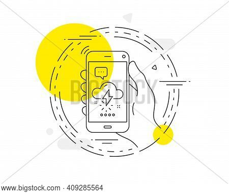 Thunderstorm Weather Line Icon. Mobile Phone Vector Button. Thunderbolt With Cloud Sign. Bad Day Sym
