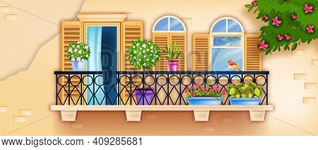Spring Vector Balcony Window, Old Town Facade Illustration, Blossom Branches, Brick Wall, Flowerpots