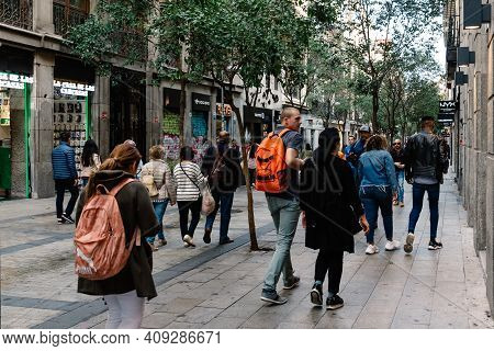 Madrid, Spain - November 1, 2019: People Shopping In Commercial Fuencarral Street In Central Madrid.