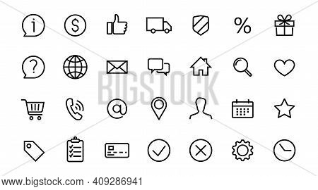 Set Of Icons E-commerce Online Shop. Home Location, Globe, User Chat, Email, Phone, Info, Mobile, Bu