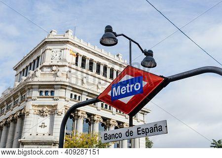 Madrid, Spain - November 1, 2019: Iconic Sign Of Banco De Espana Metro Station In Central Madrid.