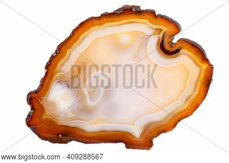 Macro Mineral Stone Yellow, Brown Agate Breed A White Background Close Up