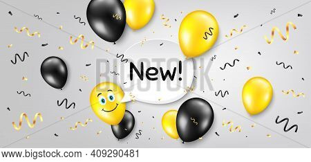 New Symbol. Balloon Confetti Vector Background. Special Offer Sign. New Arrival. Smile Balloon Backg