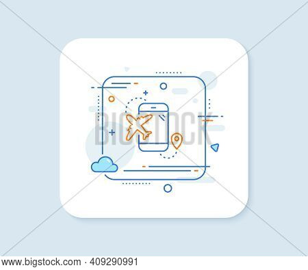 Airplane Travel Line Icon. Abstract Square Vector Button. Trip Flight Destination Sign. Holidays Sym