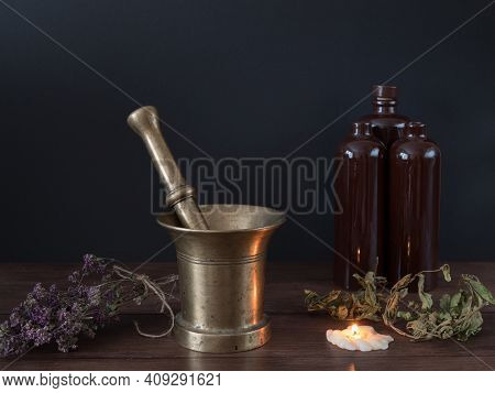 Equipment For The Creation Of The Magical Blends For Spells, Occult Powers, Pestle In The Bowl, Conc