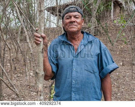 Rivas, Nicaragua. 07-15-2016. Portrait Of A Farmer In A Rural Area Of Nicaragua. Families Rely On Ra