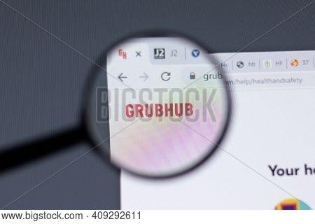 New York, Usa - 17 February 2021: Grubhub Logo Close Up On Website Page, Illustrative Editorial