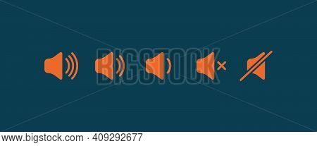 Sound Volume Flat Icon. Sign For Increases And Reduces Loud Sound. Set Of Orange Volume Level Icons