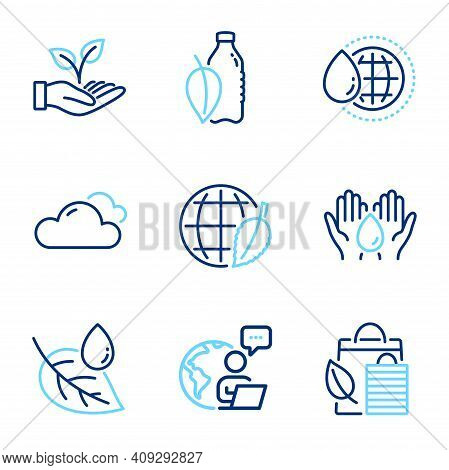Nature Icons Set. Included Icon As Leaf Dew, Water Bottle, World Water Signs. Bio Shopping, Cloudy W