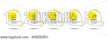 Seo, Quick Tips And Paper Clip Line Icons Set. Timeline Process Infograph. Hand Sign. Search Engine,