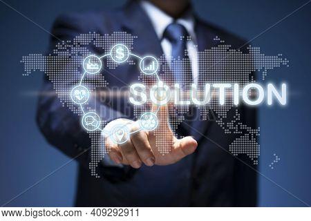 Business Solution. Businessman Push Solution Icon Show Management, Sort Plan,  Communicate, Connecti