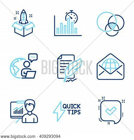 Education Icons Set. Included Icon As Web Mail, Startup, Presentation Signs. Quickstart Guide, Feath