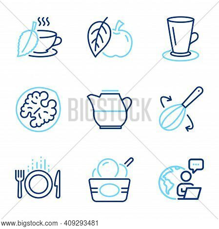Food And Drink Icons Set. Included Icon As Teacup, Ice Cream, Walnut Signs. Milk Jug, Cooking Whisk,