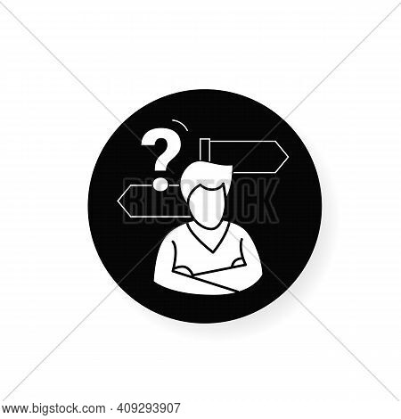 Decision Making Flat Icon. Person Avatar With Two Road Signs And Question Linear Filled Flat Sign. C