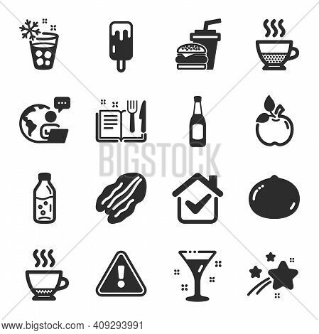 Set Of Food And Drink Icons, Such As Water Bottle, Ice Cream, Recipe Book Symbols. Pecan Nut, Eco Fo