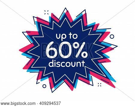 Up To 60 Percent Discount. Thought Bubble Vector Banner. Sale Offer Price Sign. Special Offer Symbol
