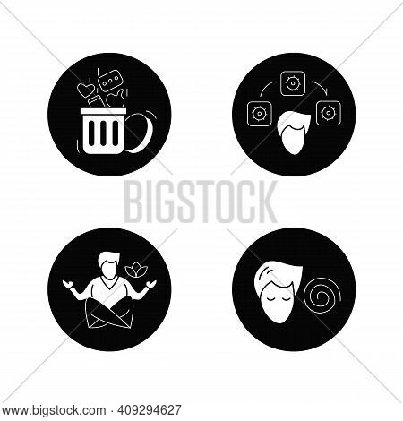 Focus Mind Flat Icons Set. Filled Flat Signs Collection For Attention Control, Mindfulness Meditatio