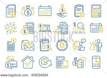 Accounting Line Icons. Set Of Calculator, Check Investment And Report Icons. Calendar, Banking Accou