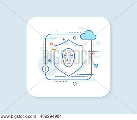 Face Biometrics Line Icon. Abstract Vector Button. Facial Recognition Sign. Head Scanning Symbol. Fa