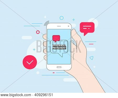 Referral Program Symbol. Mobile Phone With Offer Message. Refer A Friend Sign. Advertising Reference