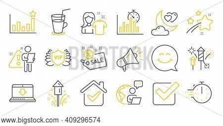 Set Of Business Icons, Such As Clean Shirt, Megaphone, Efficacy Symbols. Fireworks Rocket, Smile Fac