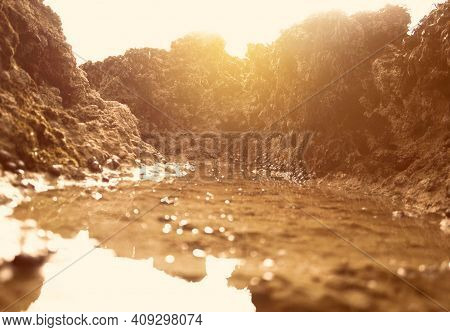 Sunset.atlantic Ocean.river.sunset In The Horizon.sea.beach.summer.sunlight.rocks.rocks And Water.ro