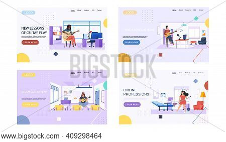 Set Of Illustrations With People Play Guitar In Different Statements. Musicians Create Melody And Pe