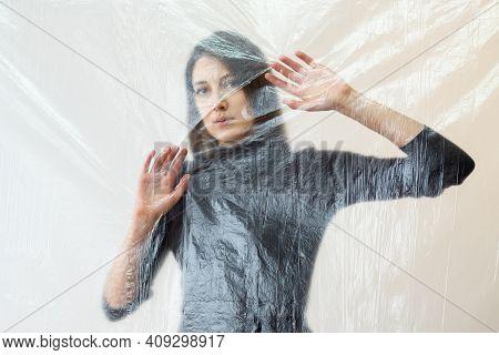 Defocused Art Portrait. Psychology Crisis. Social Distance. Barrier Isolation. Helpless Sad Woman To