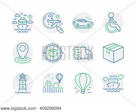 Transportation Icons Set. Included Icon As Air Balloon, Disabled, Search Flight Signs. Parcel Tracki