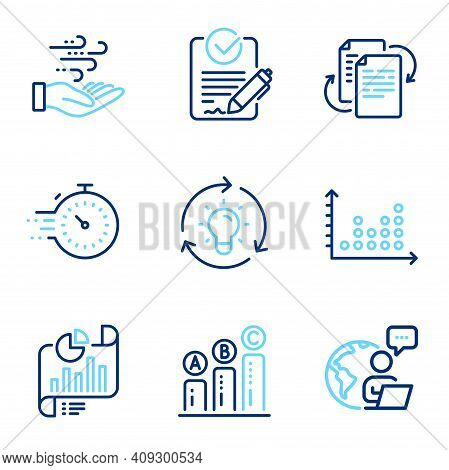 Science Icons Set. Included Icon As Report Document, Graph Chart, Bureaucracy Signs. Timer, Dot Plot