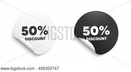 50 Percent Discount. Round Sticker With Offer Message. Sale Offer Price Sign. Special Offer Symbol.
