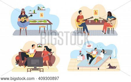 Set Of Illustrations About Couples Of Musicians Performing Songs With Guitar Accompaniment. People P