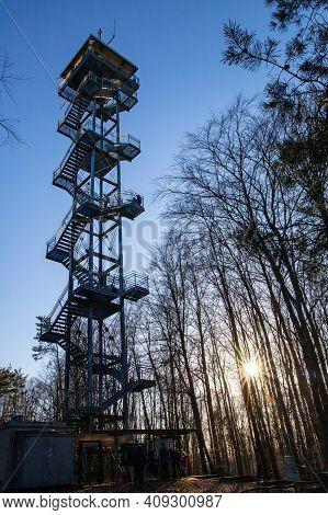 Rauen, Brandenburg, Germany - February 21, 2021 Lookout Tower In Rauener Berge Built In 2011 - Touri