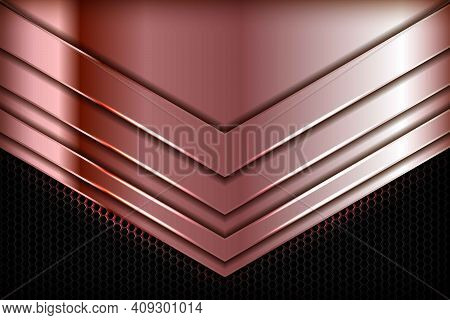 Rose Gold 3d Abstract Arrow Overlap Dimension On Black Hexagon Texture Background. Realistic Overlap