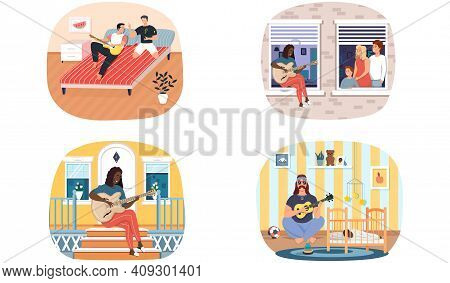 Set Of Illustrations About People Play Guitar At Home. Characters Play Strings And Create Music. Bar