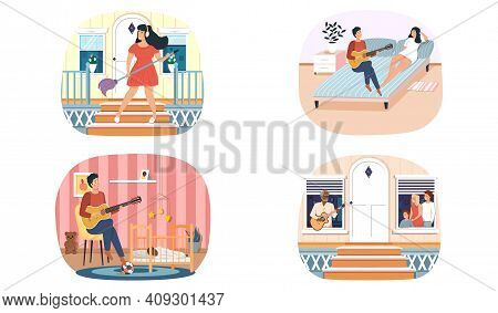 Set Of Illustrations About Guitarists With Instrument Entertain Audience. People Have Hobby. Guy Sin