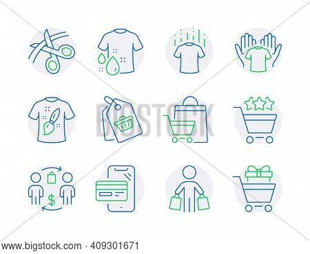 Fashion Icons Set. Included Icon As Scissors, Dry T-shirt, Buyer Signs. Sale Tag, T-shirt Design, Sh