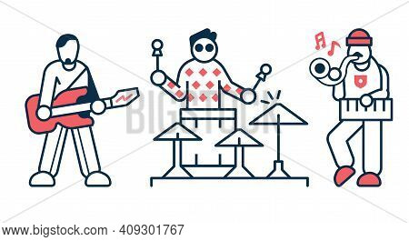 Music Rock Band Artists Icons In Line Art