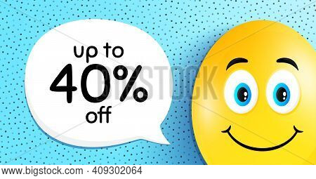 Up To 40 Percent Off Sale. Easter Egg With Smile Face. Discount Offer Price Sign. Special Offer Symb