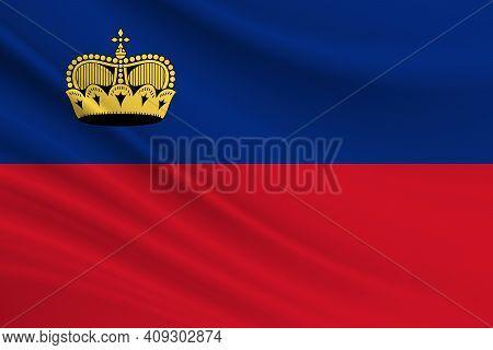 Flag Of Liechtenstein. Fabric Texture Of The Flag Of Liechtenstein.