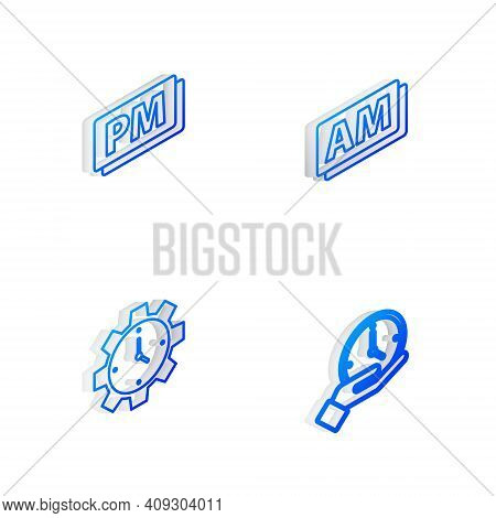 Set Isometric Line Clock Am, Pm, Time Management And Icon. Vector