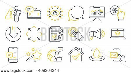 Set Of Technology Icons, Such As Maximize, Presentation, Megaphone Symbols. Messenger Mail, Chat Mes