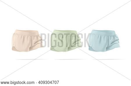 Blank Colored Women Shorts Mockup Moving, Side View, 3d Rendering. Empty Pink, Green And Blue Fitnes