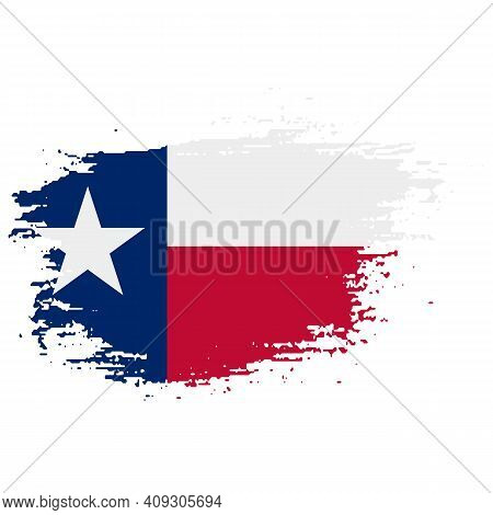Texas Grunge, Damaged, Scratch, Vintage And Old. Lone Star State Flag. Texas Grunge Flag With A Text