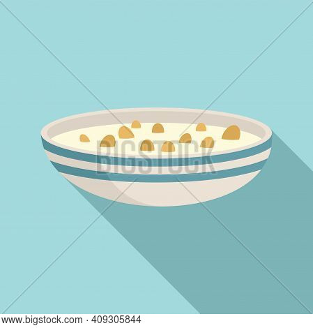 Cereal Flakes With Milk Icon. Flat Illustration Of Cereal Flakes With Milk Vector Icon For Web Desig